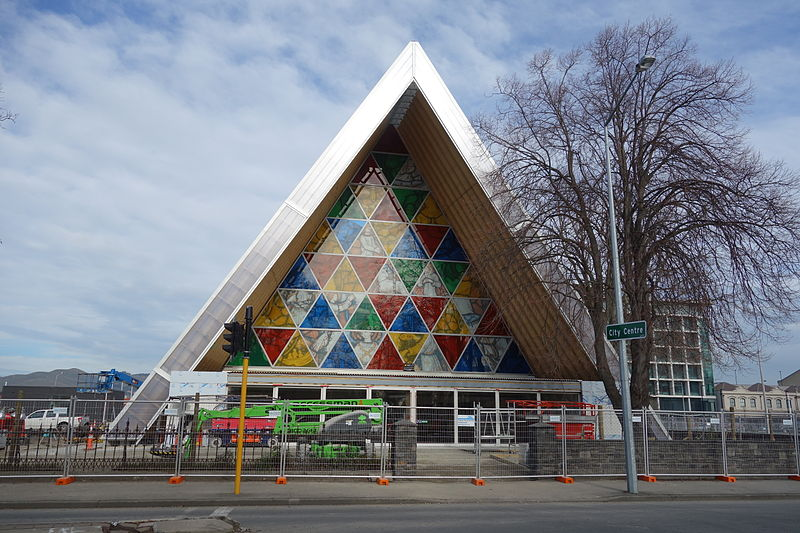 The ChristChurch Cardboard Cathedral in Latimer Square, Christchurch, NZ. Some rights reserved by Schwede66 via Wikimedia.