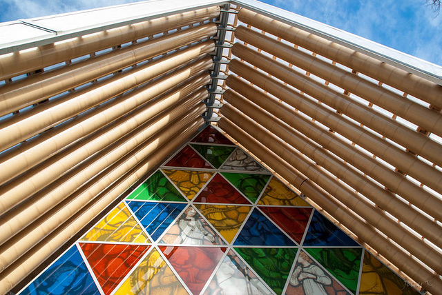 Details of stained glass of ChristChurch Cardboard Cathedral. Some rights reserved by Jocey K via Flickr.