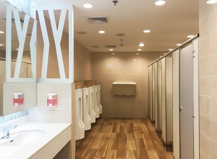 Modern interior background of public toilet.